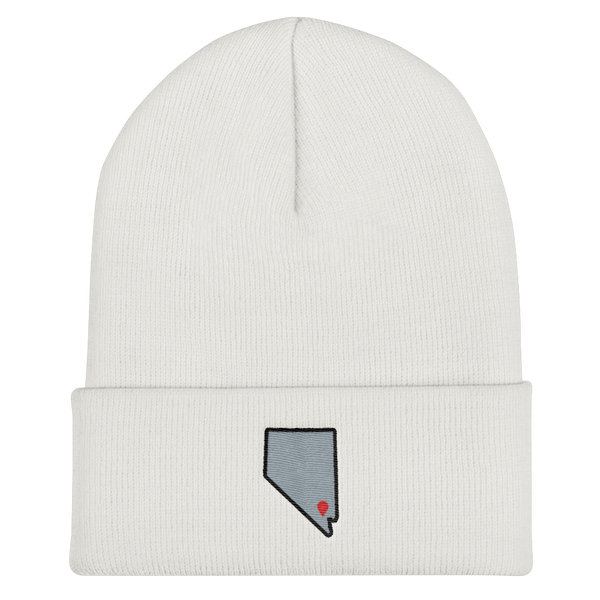 white Location Las Vegas Cuffed Beanie