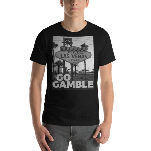 black Go Gamble Las Vegas Sign-B&W Photo T-Shirt