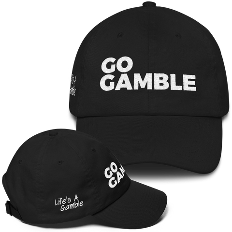 black go gamble dad hat