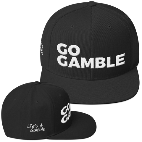 black go gamble snapback hat