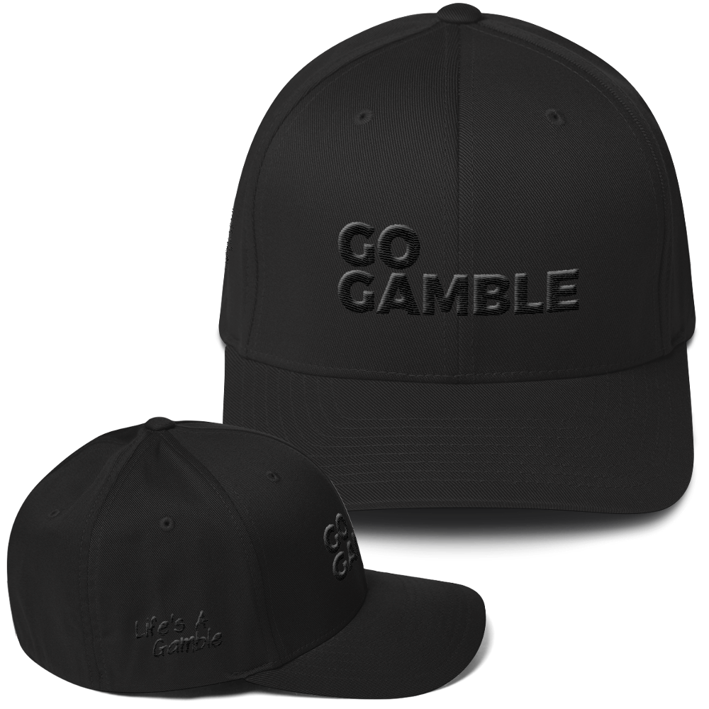 black on black go gamble flexfit hat