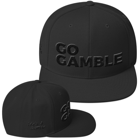 black on black go gamble snapback hat