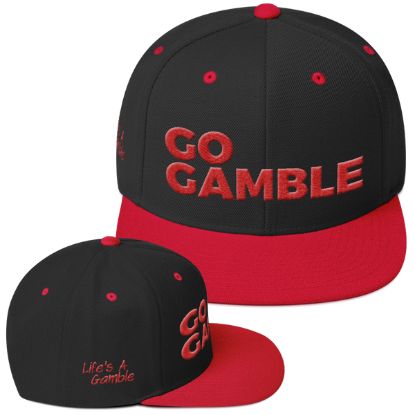 black/red go gamble snapback hat