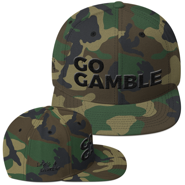 green camo go gamble snapback hat