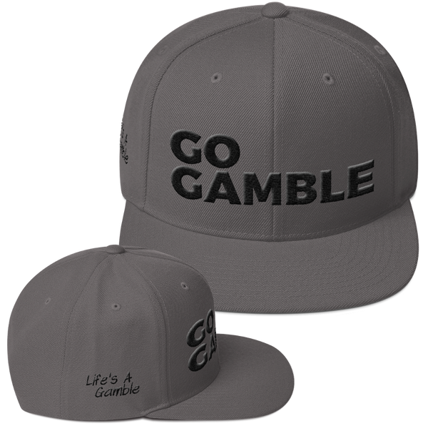 dark grey go gamble snapback hat