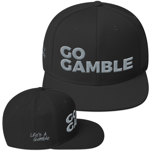 grey on black go gamble snapback hat