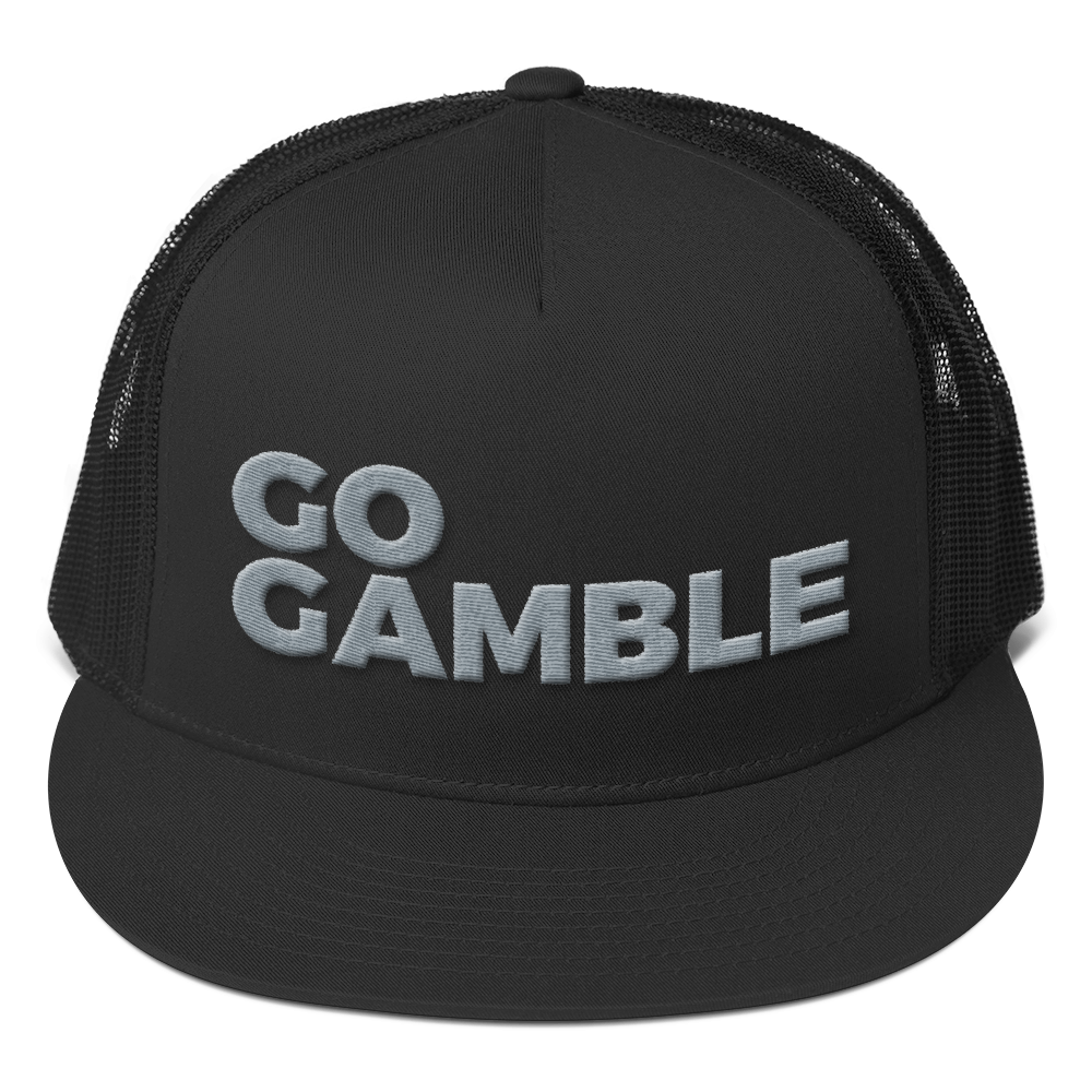 grey on black go gamble trucker hat