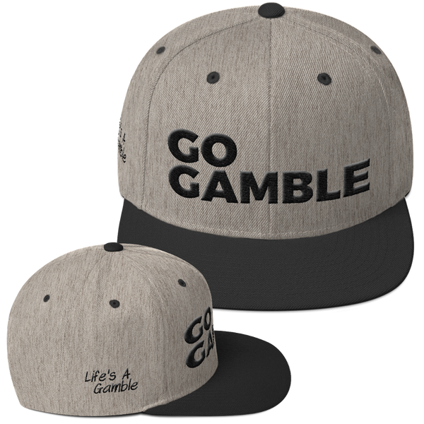 heather grey/black go gamble snapback hat