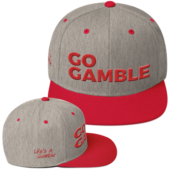 heather grey/red go gamble snapback hat