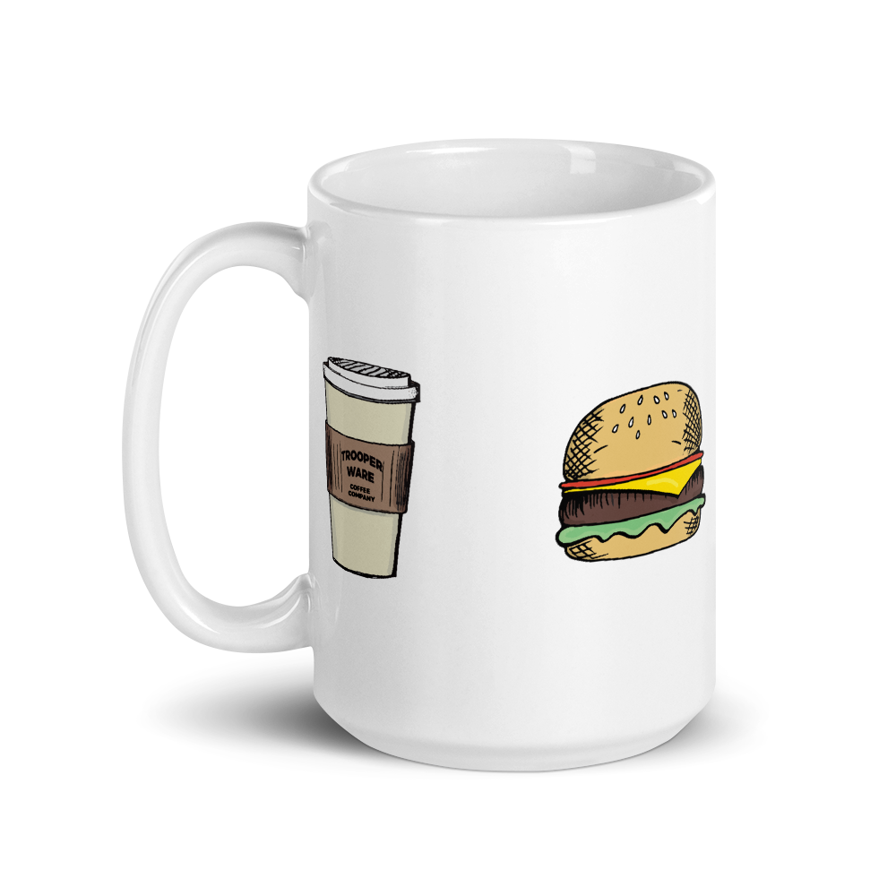 Coffee-Burger-Pizza-Poker Coffee Mug