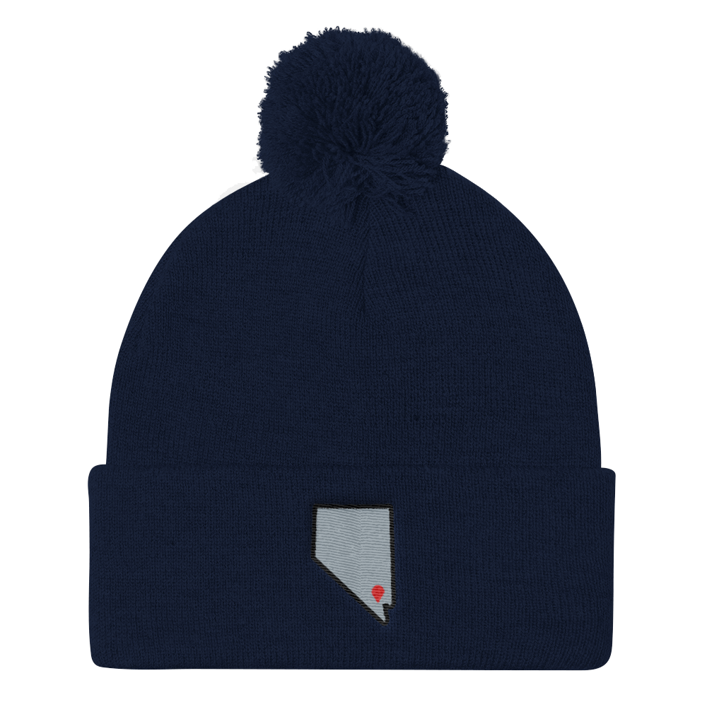 navy Location Las Vegas Pom Beanie