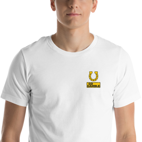 white Horseshoe Lucky Embroidered T-Shirt