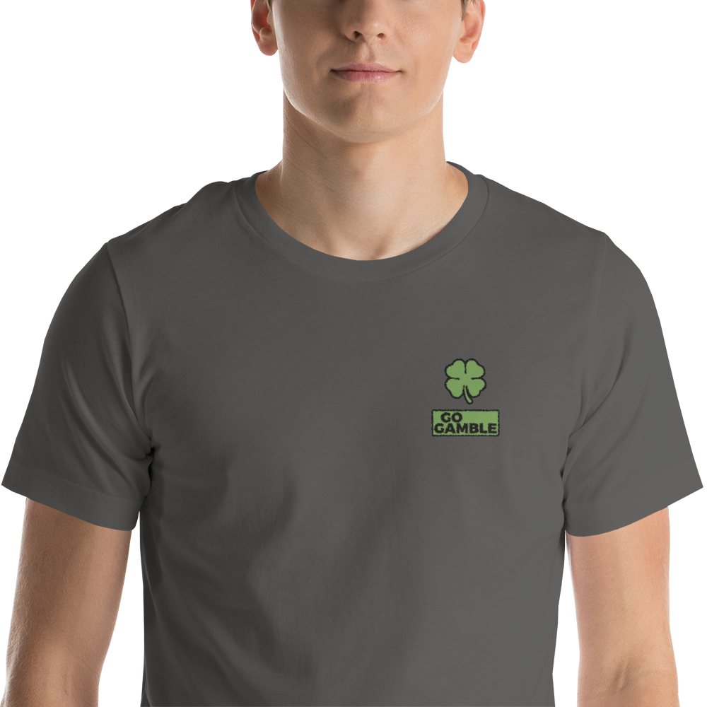 asphalt Four Leaf Clover Lucky Embroidered T-Shirt