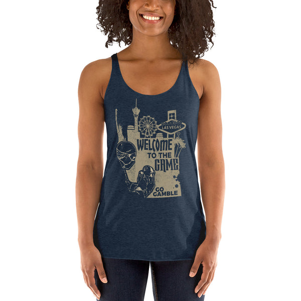 Ladies' navy Welcome to the Game Tank-Top
