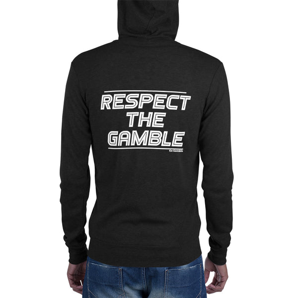 charcoal black Respect the Gamble Lightweight Triblend Zip Hoodie