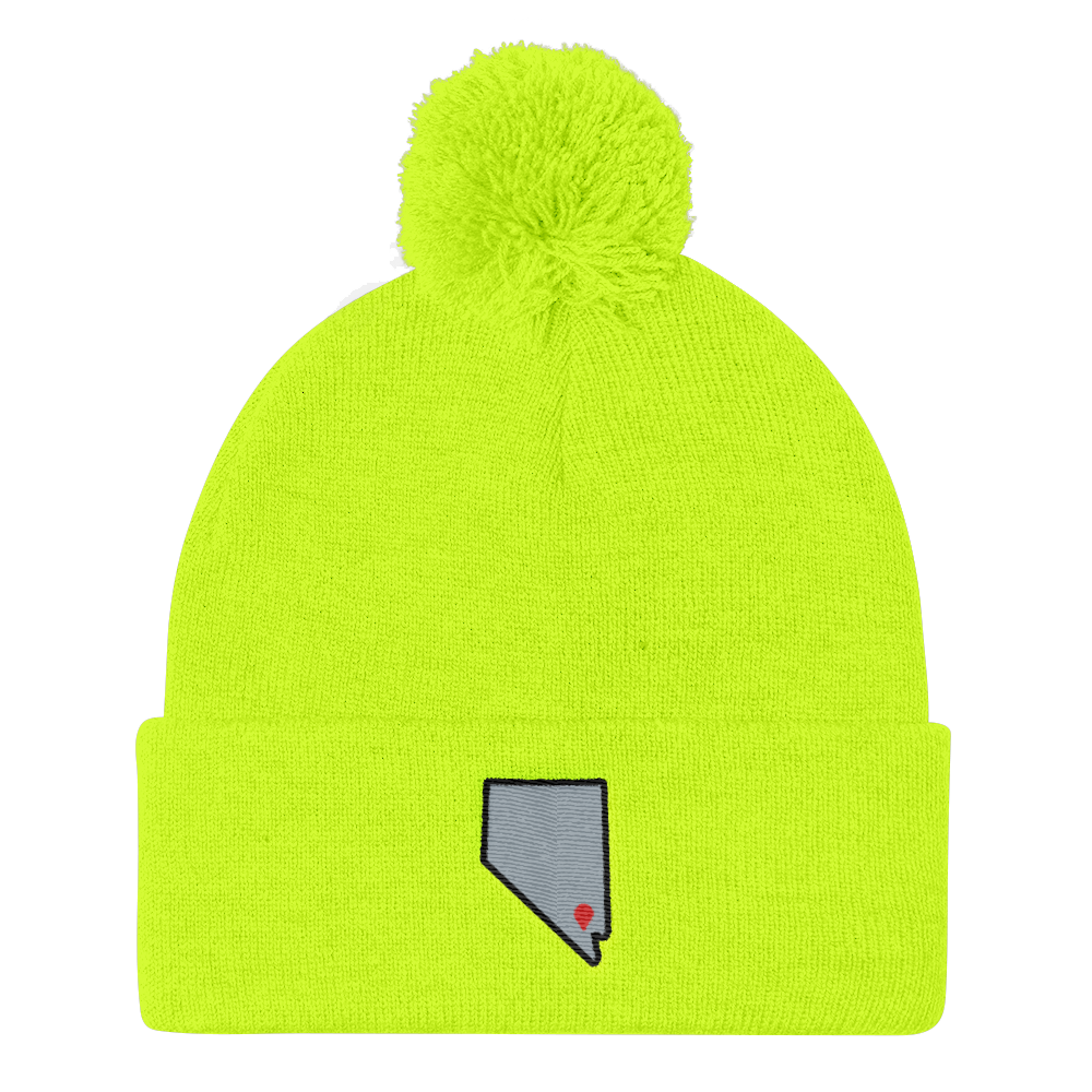 neon yellow Location Las Vegas Pom Beanie