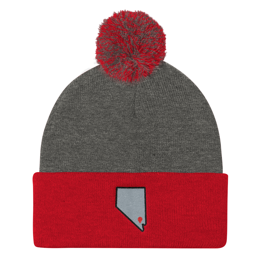 dark heather grey/red Location Las Vegas Pom Beanie