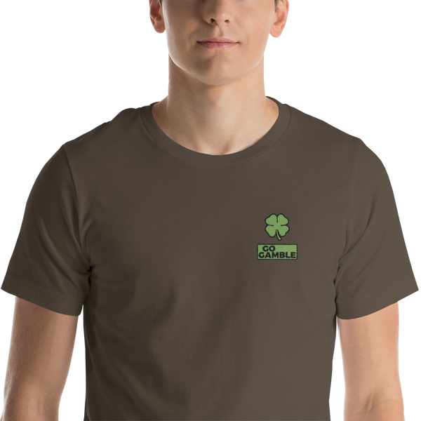 army Four Leaf Clover Lucky Embroidered T-Shirt