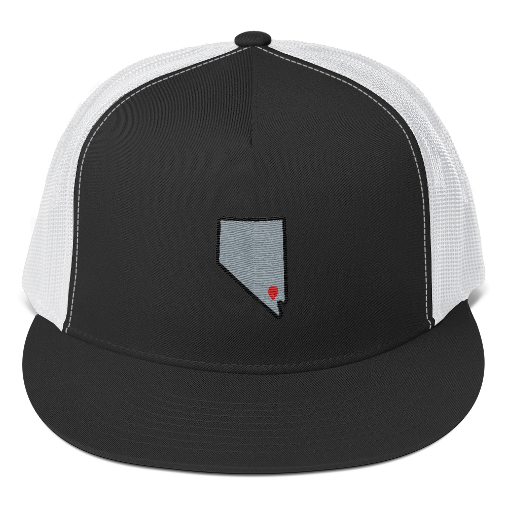 black/white Location Las Vegas Trucker Hat