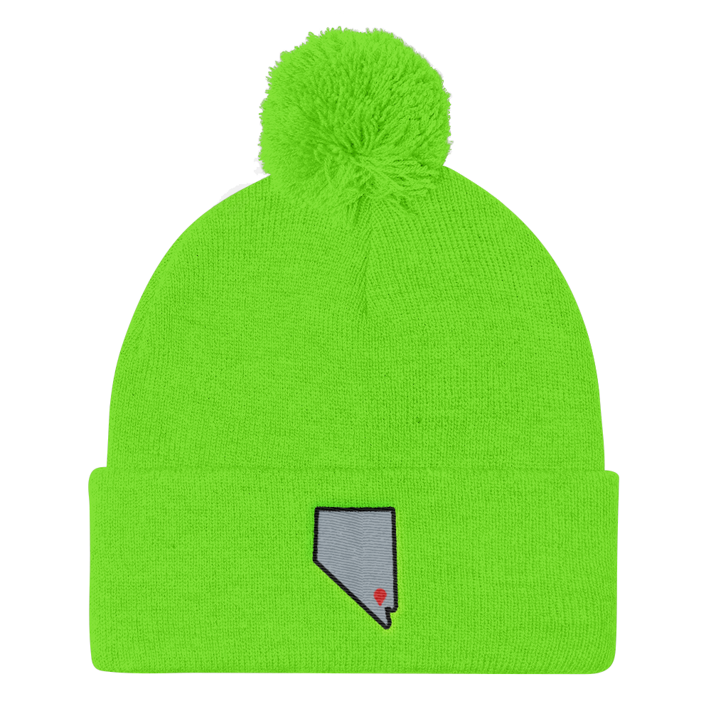 neon green Location Las Vegas Pom Beanie