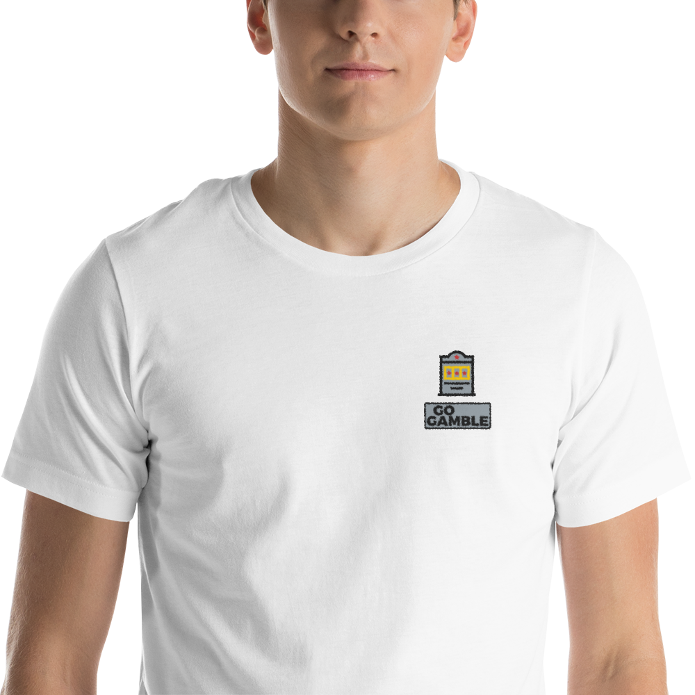 white Slot Machine Lucky Embroidered T-Shirt
