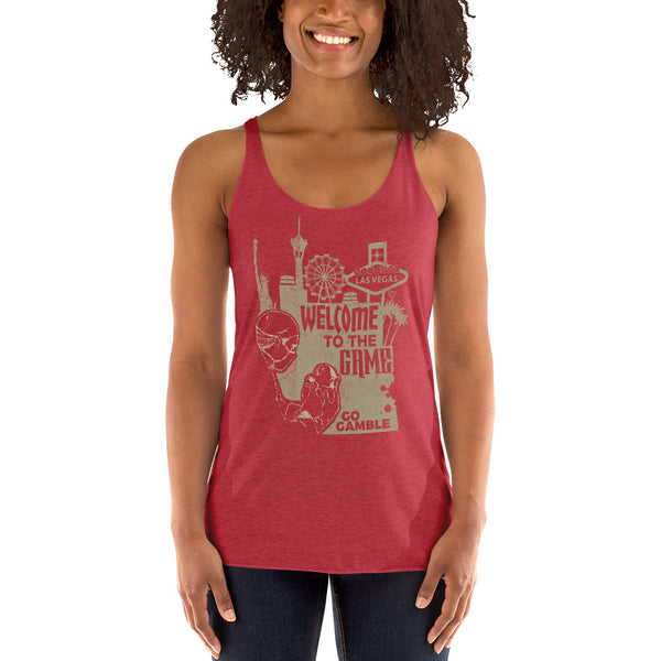 Ladies' red Welcome to the Game Tank-Top