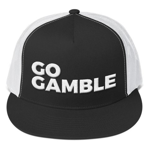 black and white go gamble trucker hat