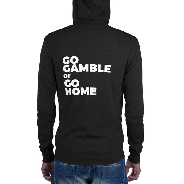 charcoal black Go Gamble or Go Home Lightweight Triblend Zip Hoodie