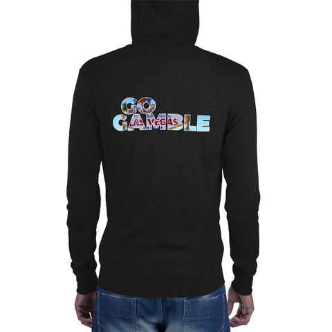 black Go Gamble Las Vegas Sign Lightweight Triblend Zip Hoodie