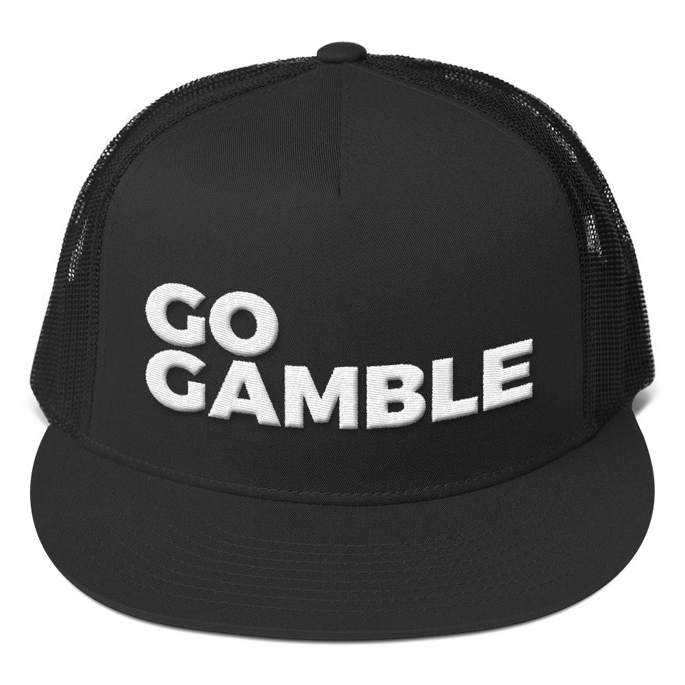 black go gamble trucker hat