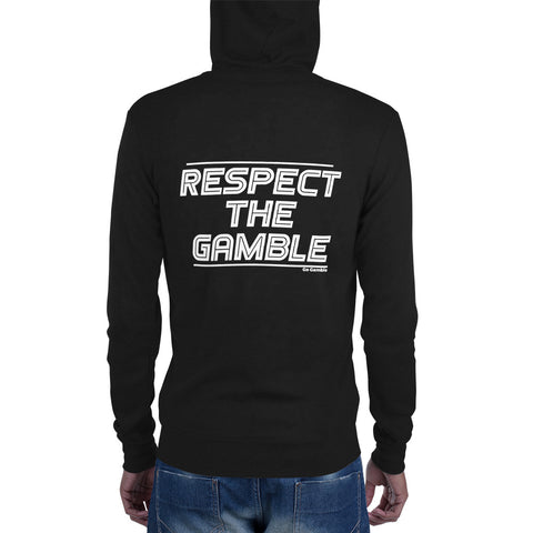 black Respect the Gamble Lightweight Triblend Zip Hoodie