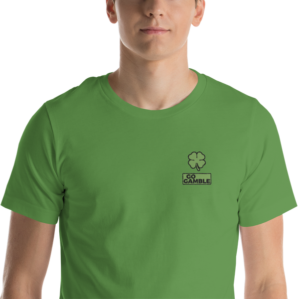 leaf Four Leaf Clover Lucky Embroidered T-Shirt