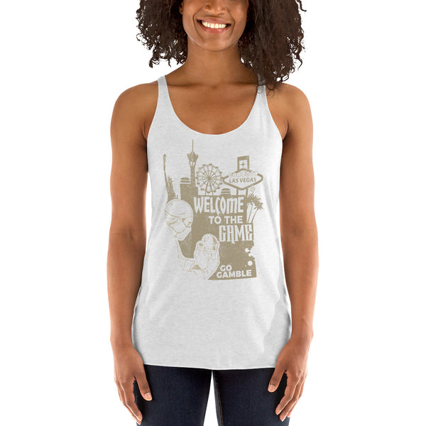 Ladies' white Welcome to the Game Tank-Top