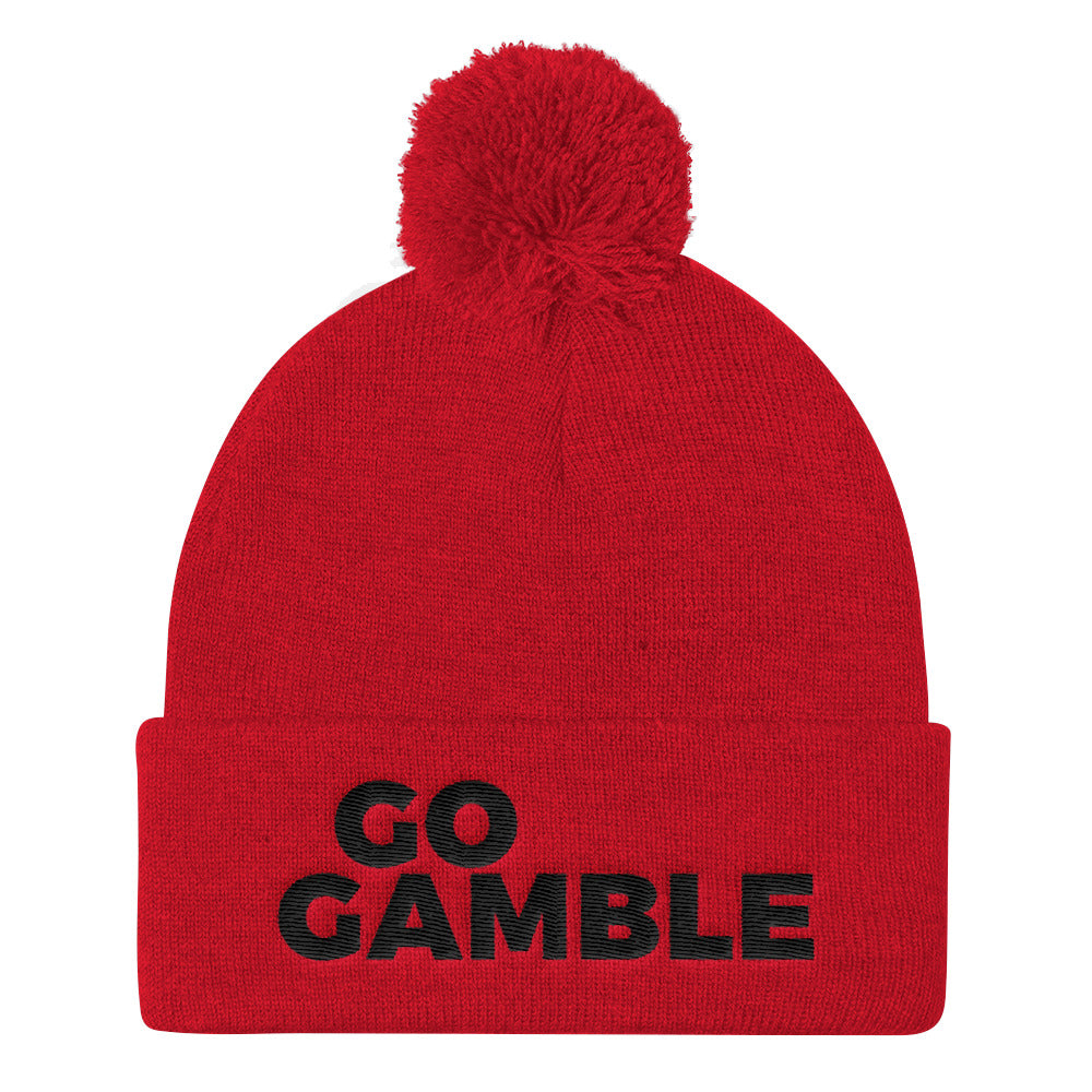 Go Gamble Pom beanie red