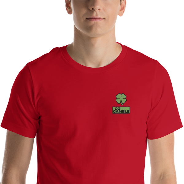 red Four Leaf Clover Lucky Embroidered T-Shirt