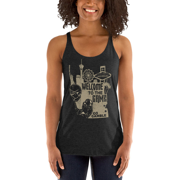 Ladies' black Welcome to the Game Tank-Top