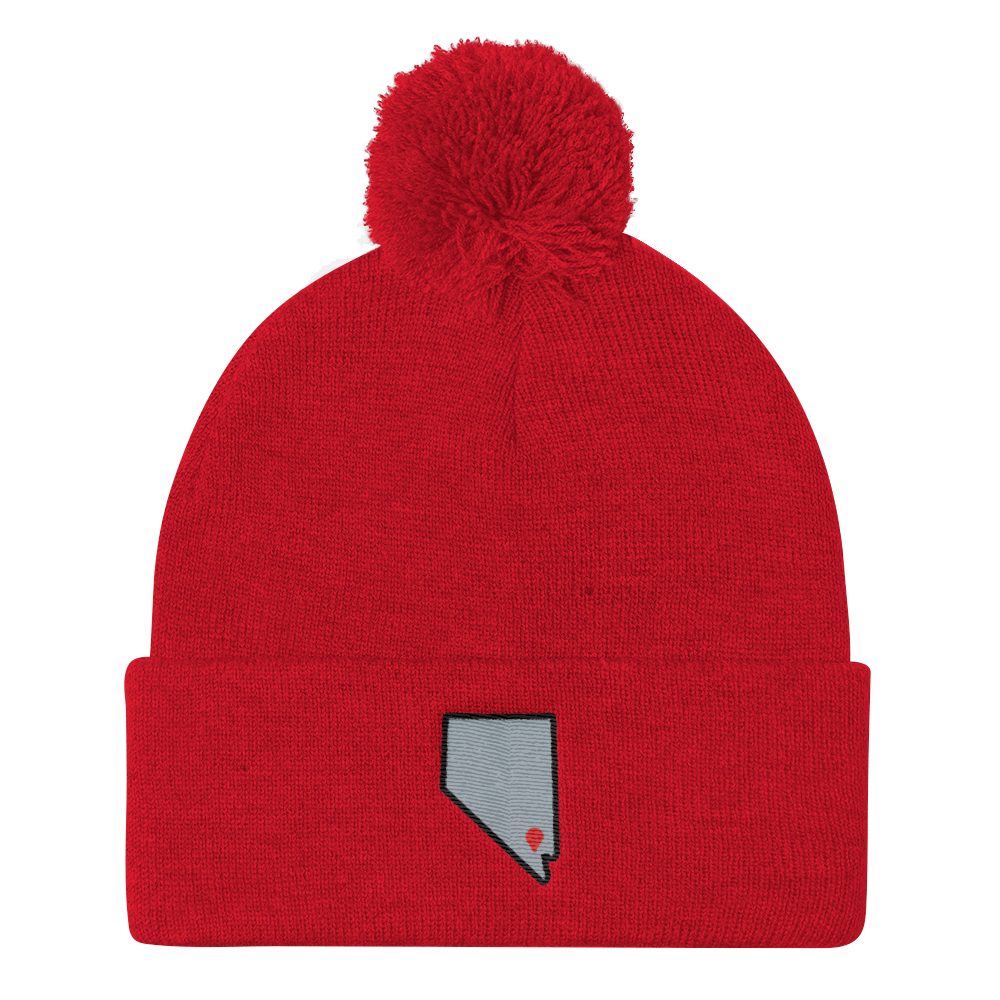 red Location Las Vegas Pom Beanie