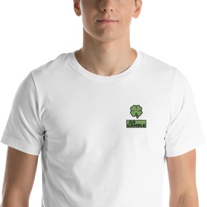 white Four Leaf Clover Lucky Embroidered T-Shirt