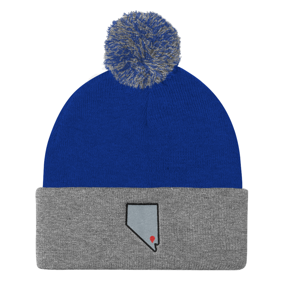 royal/heather grey Location Las Vegas Pom Beanie