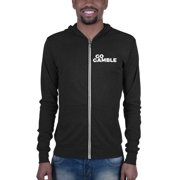 charcoal black Go Gamble Lightweight Triblend Zip Hoodie-Front Print
