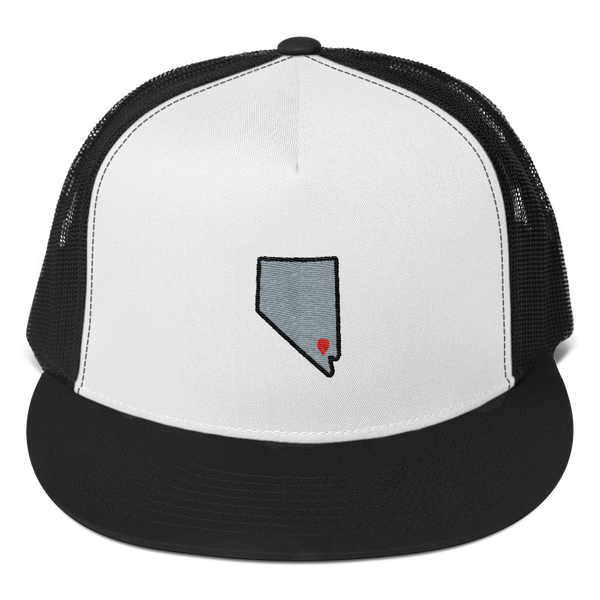 white/black Location Las Vegas Trucker Hat