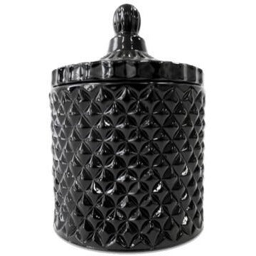 Margo Cut Glass Candle Jar with Lid - Black