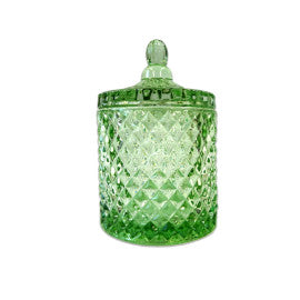 Margo Cut Glass Candle Jar with Lid - Green