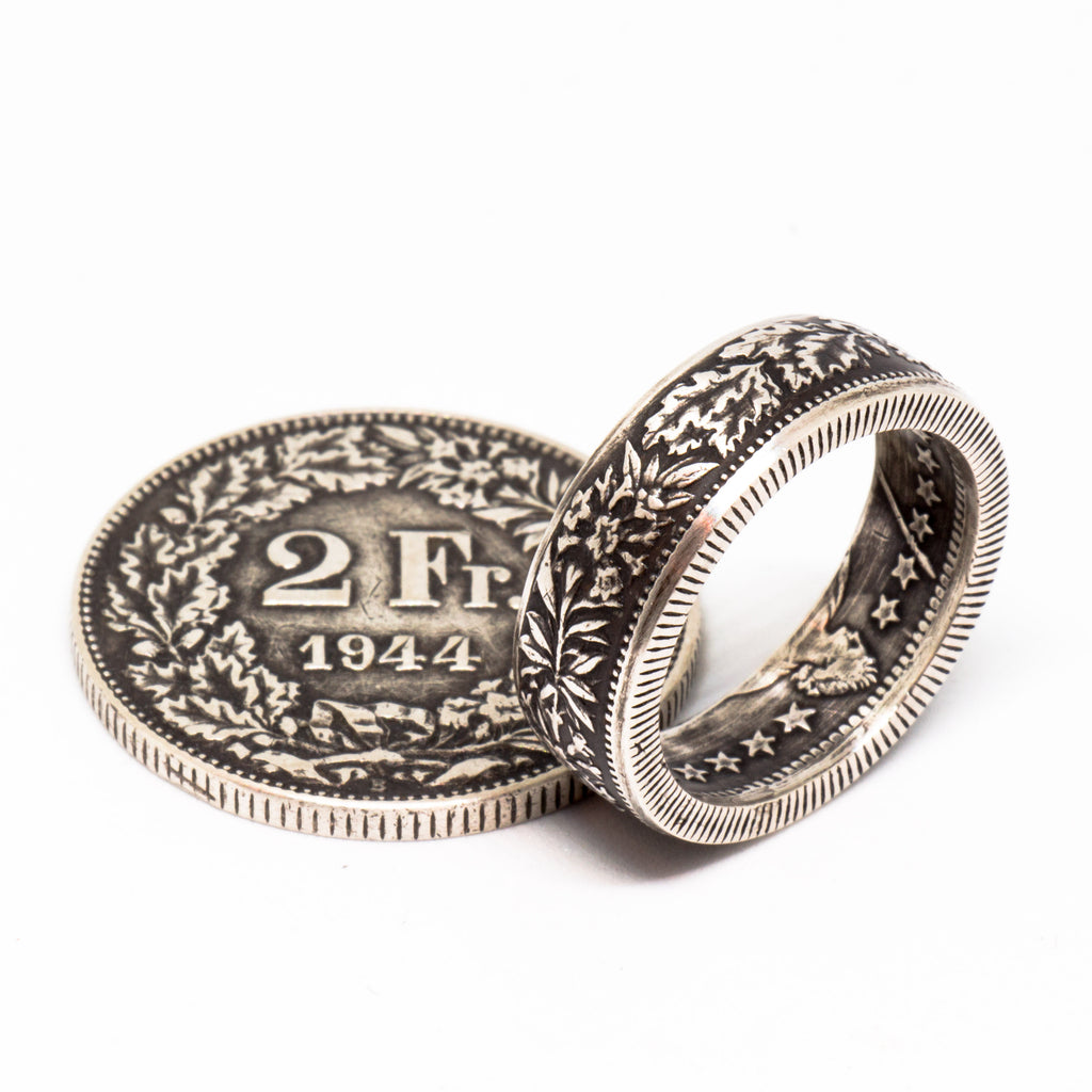 Coin Ring - Silver Swiss 2 Francs – Walking With Liberty