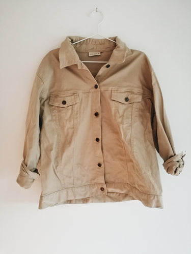 BEIGE DENIM OVERSIZED JACKET
