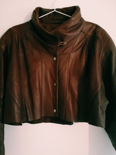 W.I.A RESTYLED / BROWN LEATHER JACKET