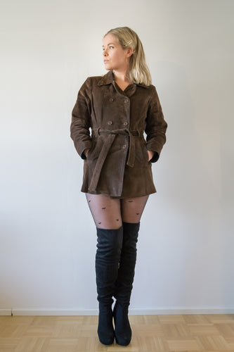 BROWN LEATHER TALL- FIT JACKET
