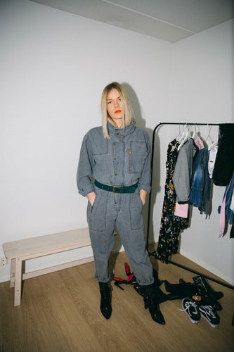 GREY DENIM OVERALLS