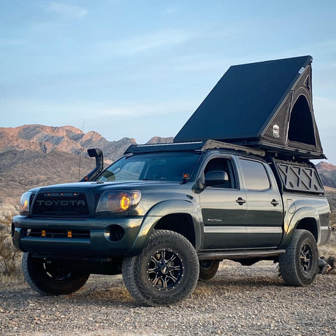 cvt mt hood roof top tent on top of toyota tacoma