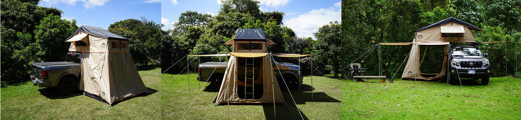 wanaka roof top tent with annex and three awnings